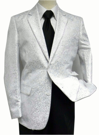 After Midnight Men's White Silver Swirl Fashion Entertaining Blazer 5250-007 - click to enlarge