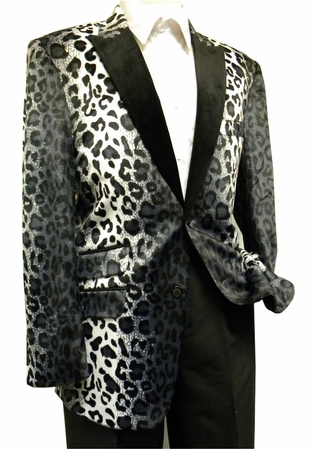 After Midnight Mens Fancy Black Cheetah Pattern Fashion Blazer 5716-021 - click to enlarge