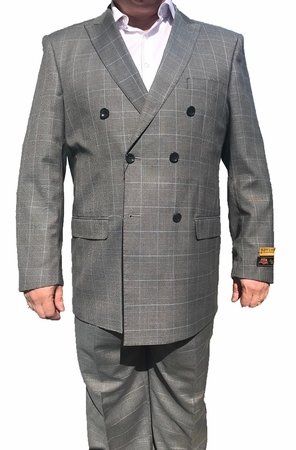 Alberto Nardoni Mens Gray Plaid Wool Double Breasted Suit DB-1 Plaid - click to enlarge