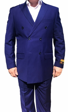 Alberto Nardoni Mens Sapphire Blue Double Breasted Wool Suit DB-1 - click to enlarge