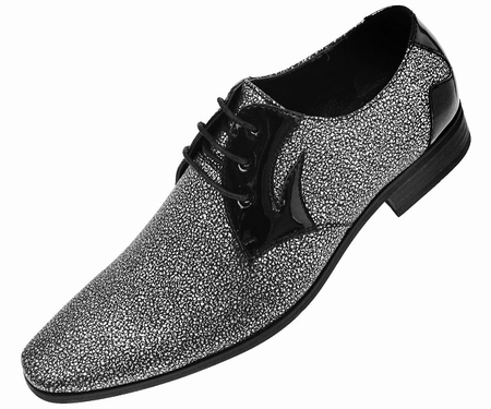 Amali Men's Silver Glitter Tuxedo Dress Shoes Dazzler 211 - click to enlarge