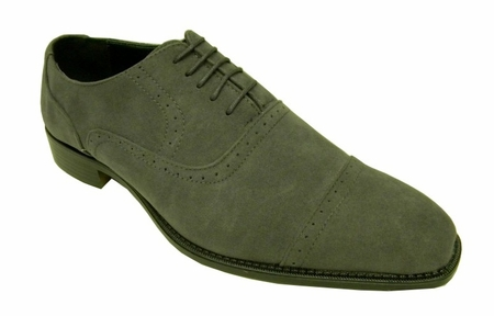 Amali Mens Grey Suede Cap Toe Dress Shoes 2321-011 IS - click to enlarge