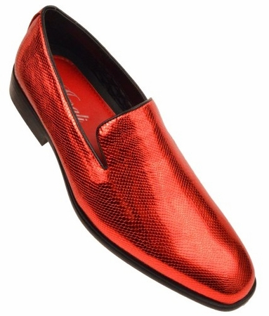 Amali Mens Shiny Red Slip On Smoking Loafers Durant  - click to enlarge