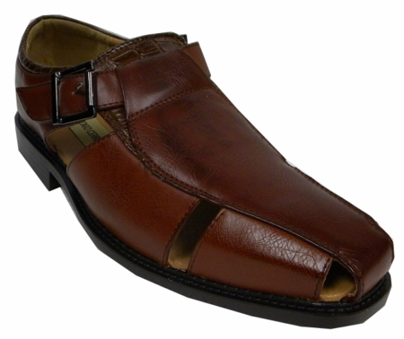 Antonio Cerrelli Mens Cognac Closed Toe Dress Sandals 6555 IS - click to enlarge