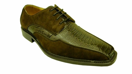 Antonio Cerrelli Mens Brown Suede Ostrich Print Dress Shoes 6310 IS - click to enlarge