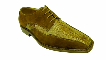 Antonio Cerrelli Mens Mustard Suede Ostrich Print Dress Shoes 6310 IS - click to enlarge