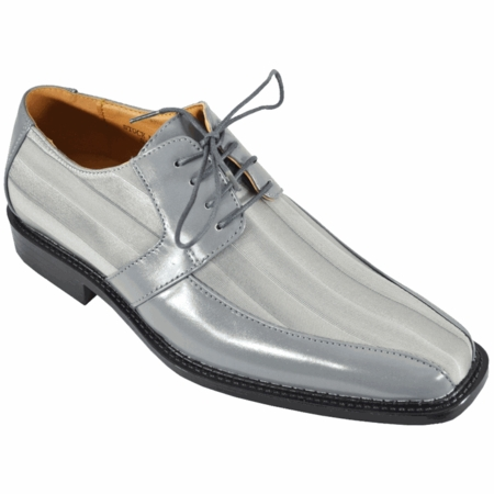 Expressions Grey Shiny Stripe Dress Shoes 6159 IS - click to enlarge