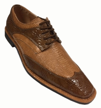 Expression Mens Cappuccino Mustard Lizard Print Dress Shoes 6704 - click to enlarge