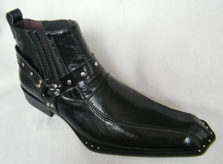 Zota Mens Black Pointy Toe Leather Boots Rivet G4H937 - click to enlarge