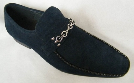 Zota Mens Suede Navy Chain Link Strap Shoes G6850-6 - click to enlarge