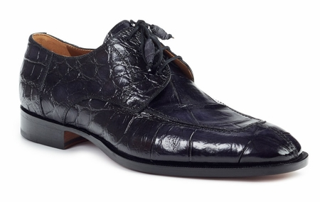 Mauri Italy Mens Black Alligator Skin Lace Up Shoes 1081 - click to enlarge