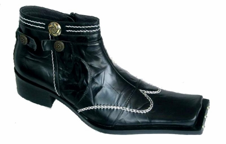 Zota Mens Black High Fashion Wing Style Leather Boots G4H893-5 - click to enlarge