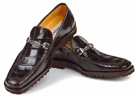 Mauri Shoes Italy Mens Brown Alligator Casual Loafers Spada htm - click to enlarge