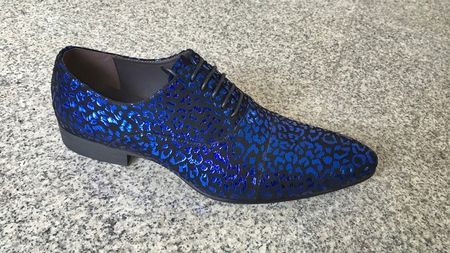 Zota Blue Foil Print Italian Style Lace Up Shoe GF960-1F - click to enlarge