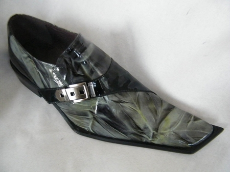 Zota Mens Black/Green Marble Slant Toe Leather Shoes G838-103  - click to enlarge