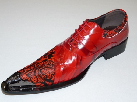 Zota Men's Red Pattern Leather Metal Toe Fashion Shoes G737-41 - click to enlarge