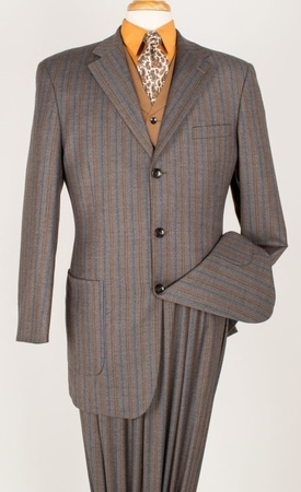 Apollo King 100% Wool Brown Fashion Stripe 3 Piece Fashion Suit F-121 - click to enlarge