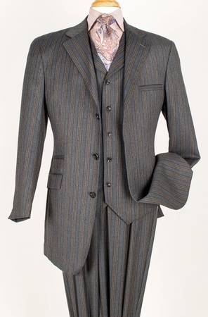 Apollo King 100% Wool Fashion Stripe 3 Piece Wide Leg Suit  - click to enlarge