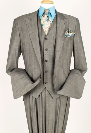 Apollo King 100% Wool Gray 1 Button 3 Piece Wide Leg Suit C-011 - click to enlarge