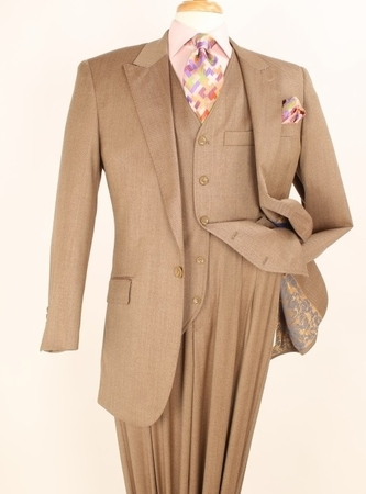 Apollo King 100% Wool Taupe 1 Button 3 Piece Wide Leg Suit C-092 - click to enlarge