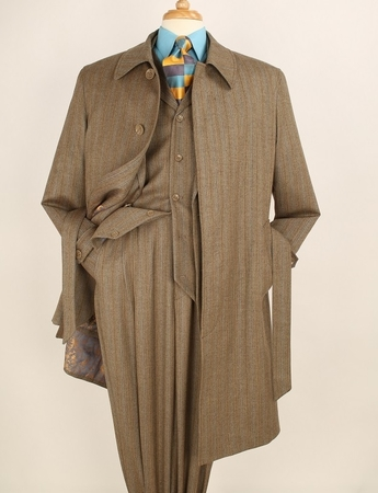 Apollo King All Wool Taupe Stripe 4pc Matching Coat and Suit Set H - click to enlarge