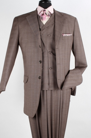 Apollo King Wool Blend Brown Fancy Vest 3 Piece Fashion Suit SD-302 - click to enlarge