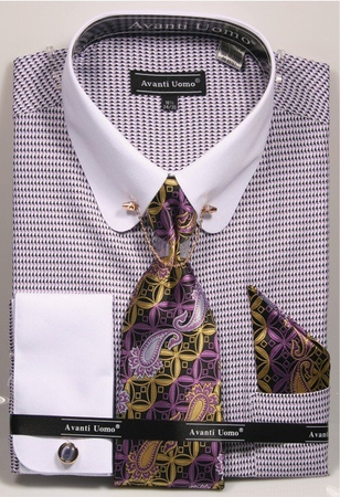 Avanti Uomo Lavender White Dress Shirt Round Collar Pin DN75M - click to enlarge