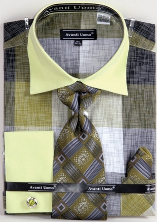 Avanti Uomo Dress Shirts Olive Heather Block Pattern DN65M - click to enlarge
