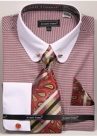 Avanti Mens Red White 1920s Design Rounded Collar Bar Dress Shirt DN75M - click to enlarge