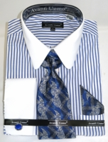Avanti Big Mens Stylish Shirt and Tie Sets Royal Stripe DN80M