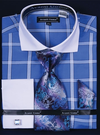 Avanti Blue Square Pattern French Cuff Shirt Tie Set DN54M IS - click to enlarge