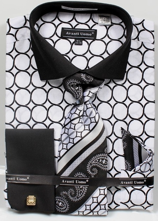 Avanti Mens Big Size White Circle Link Dress Shirt Tie Set DN68MB - click to enlarge