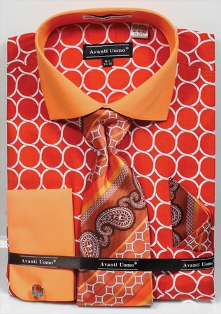 Avanti Mens Big Size Orange Circle Link Dress Shirt Tie Set DN68MB - click to enlarge