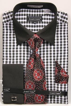 Avanti Mens Black Gingham Pattern French Cuff Shirt Tie Combo DN70M - click to enlarge