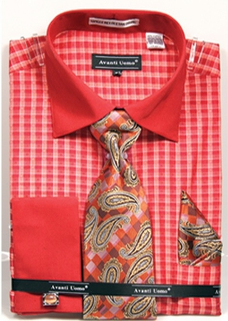 Avanti Mens Coral Gingham Pattern French Cuff Shirt Tie Combo DN70M - click to enlarge
