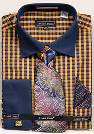 Avanti Mens Mustard Gingham Pattern French Cuff Shirt Tie Combo DN70M - click to enlarge