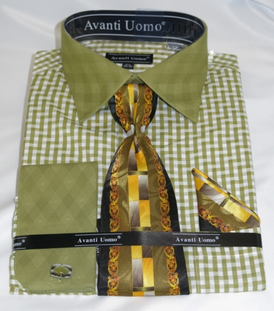 Avanti Mens Olive Fashion Dress Shirt Tie Hankie Set DN76M - click to enlarge