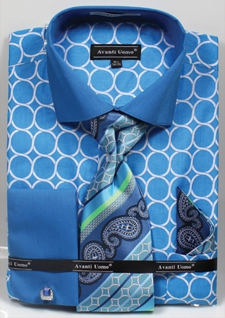 Avanti Mens Turquoise Circle French Cuff Dress Shirt Tie Set DN68M - click to enlarge