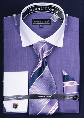 Avanti Uomo 2 Tone French Cuff Dress Shirt Tie Combination DN53M - click to enlarge