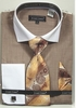 Avanti Uomo Beige White Spread Collar Dress Shirt Tie Combo DN73M