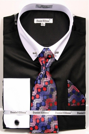 Daniel Ellissa Mens Black White Collar Bar Dress Shirt Tie Hankie DS3790P2 - click to enlarge