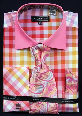 Avanti Uomo Fuchsia Square Pattern Dress Shirt Set DN60M - click to enlarge