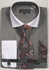 Avanti Uomo Grey Heather White Collar Dress Shirt Tie Combo DN73M