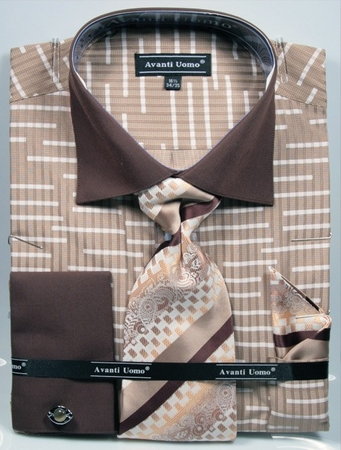 Avanti Uomo Mens Beige Big Size Fancy Pattern Shirt Tie Set DN66MB - click to enlarge