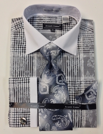 Avanti Uomo Mens Black Cotton Fancy French Cuff Shirt Set DN63M - click to enlarge