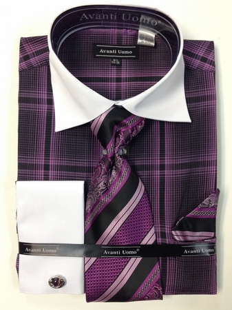 Avanti Uomo Mens Lavender Bold Plaid French Cuff Shirt Tie Combo DN62M - click to enlarge