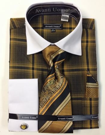 Avanti Uomo Mens Mustard Bold Plaid French Cuff Shirt Tie Combo DN62M - click to enlarge