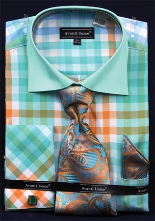 Avanti Uomo Mint Green Square Pattern Dress Shirt Set DN60M - click to enlarge