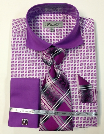 Fratello Mens Lilac Square Pattern French Cuff Shirt Set FRV4128P2 - click to enlarge