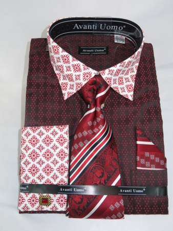 Avanti Uomo Red Mens Tiling Pattern Shirt Tie Set DN69M - click to enlarge